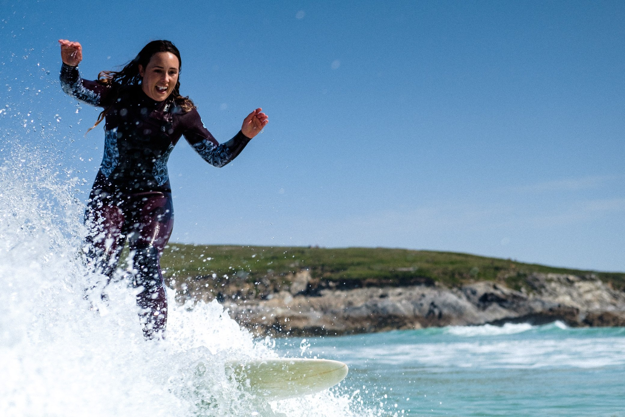 A stoked Corinne Evans at Little Fistral