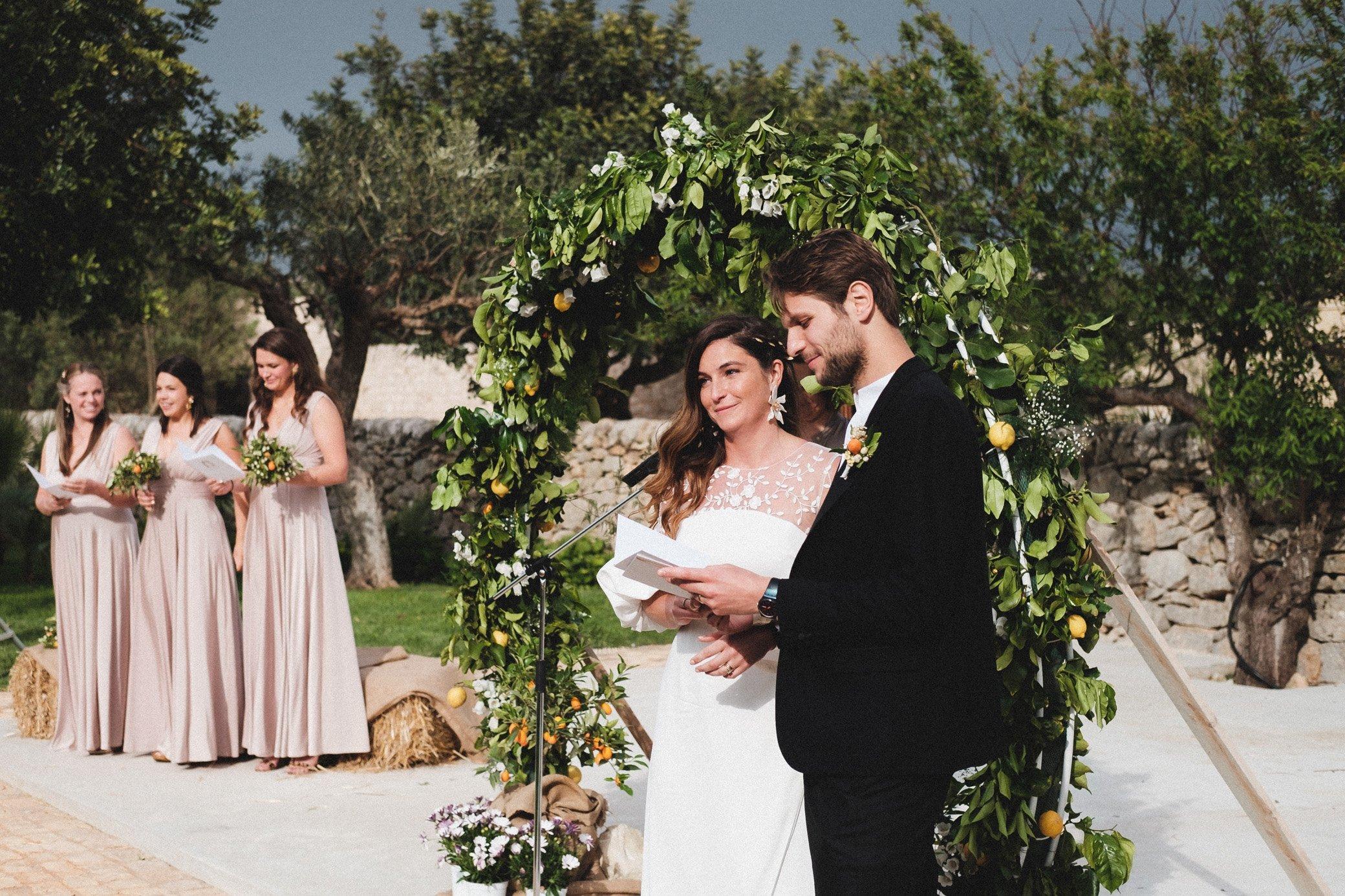 Bride and Groom at a sunny Sicilian Wedding