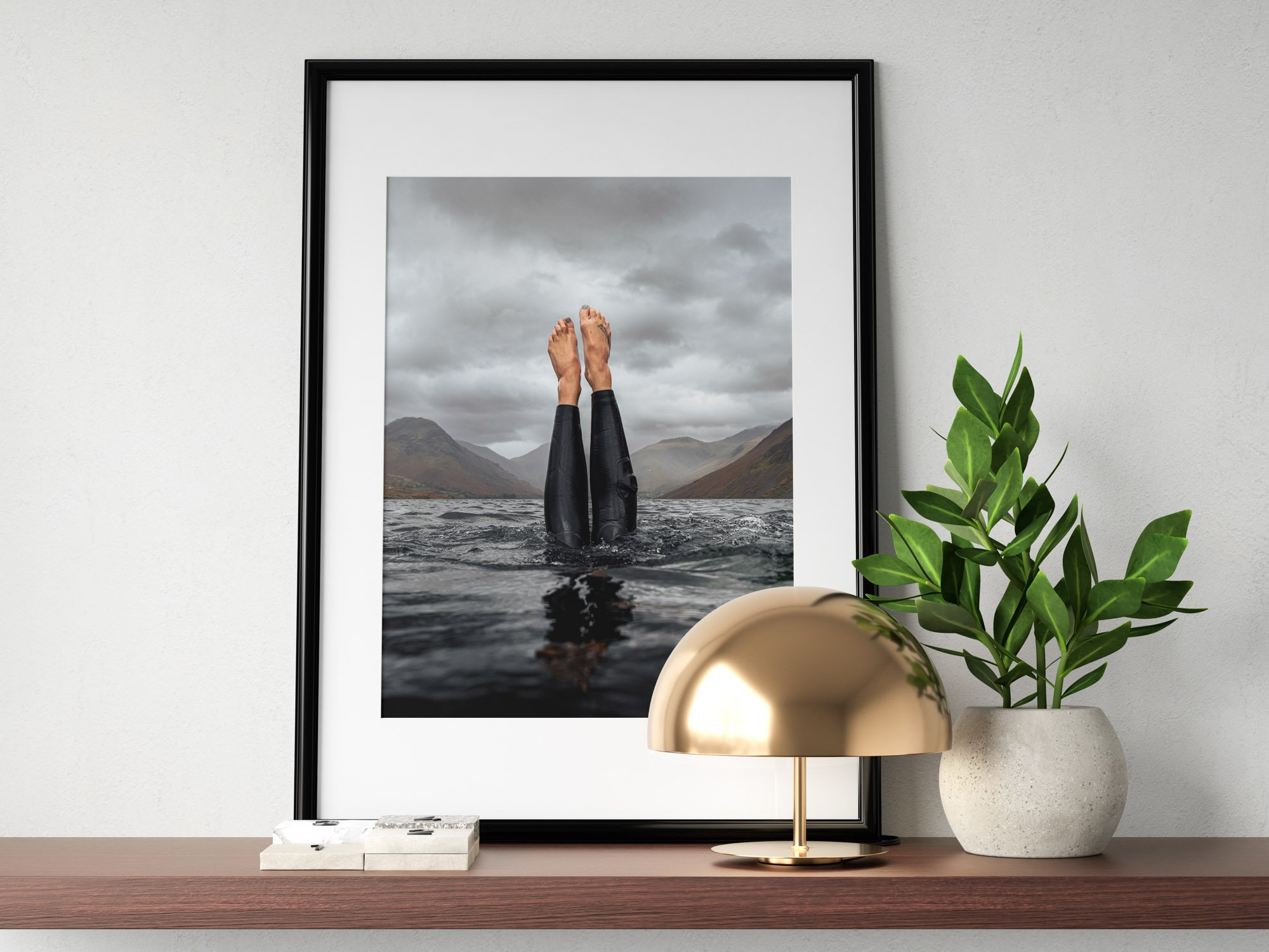 Diving into Wastwater Lake in the Lake District, Beautiful Print from the middle of the lake.